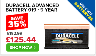 Duracell Advanced 019 Car Battery - 5yr Guarantee - Use Code BATTERY35