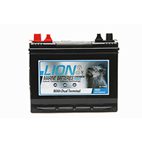 Lion Sealed Marine Battery - 80Ah Twin Terminals