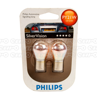 Philips Silver Vision PY21W Bulbs (Twin Box)