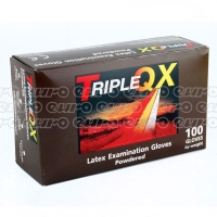 TRIPLE QX Latex Gloves Small Pre Powdered Box of 100