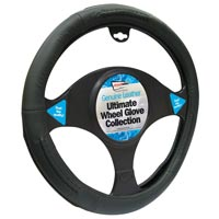 Streetwize Luxury Steering Wheel Cover - All Black Leather (Universal)