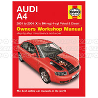 Haynes Workshop Manual Audi A4 Petrol & Diesel (01 - 04) X to 54