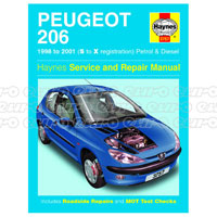Haynes Workshop Manual Peugeot 206 Petrol & Diesel (98 - 01) S to X