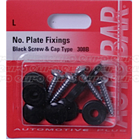 Number Plate Screws with Black Caps
