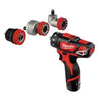 Milwaukee M12 4-In-1 Drill Driver Kit (2 X 2.0ah Li-ion batteries, charger, 10mm chuck & e