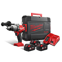 Milwaukee M18 Fuel Combi Dill + 3 x 5amp Batteries