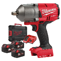 "Milwaukee ONE-KEY M18 Fuel high Torque Impact Wrench (1/2"" Dr) + 3 Batteries"