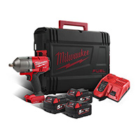 "Milwaukee M18 ONE-KEY Fuel high Torque 1/2"" Impact Wrench with 3 Batteries"