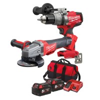 Milwaukee ONE-KEY M18 Combi Drill + Fuel Angle Grinder Twin Pack