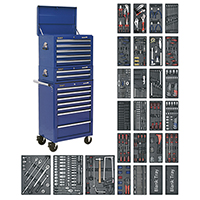 Sealey SPTCCOMBO1 Tool Chest Combination 14 Drawer with Ball Bearing Slides - Blue & 11