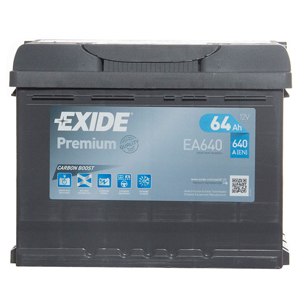 Exide Premium 027 Car Battery (64Ah) - 5 Year Guarantee (EA640)
