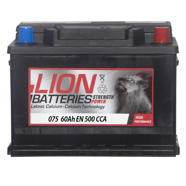 Lion 075 Car Battery - 3 Year Guarantee