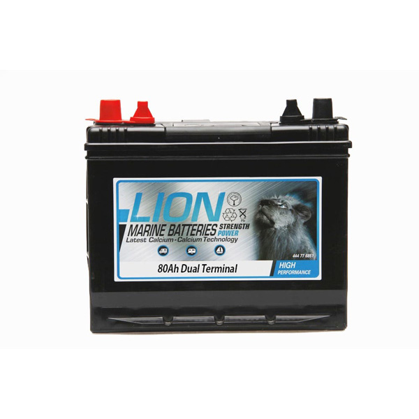 Lion Leisure Sealed Marine Battery - 80Ah Twin Terminals
