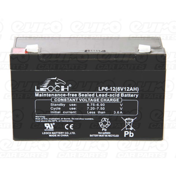 Leoch VRLA Sealed Battery - 6V 12Ah