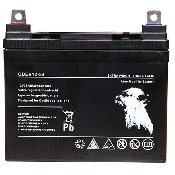 Lion AGM 12V 34AH Sealed Deep Cycle (Lug Term)