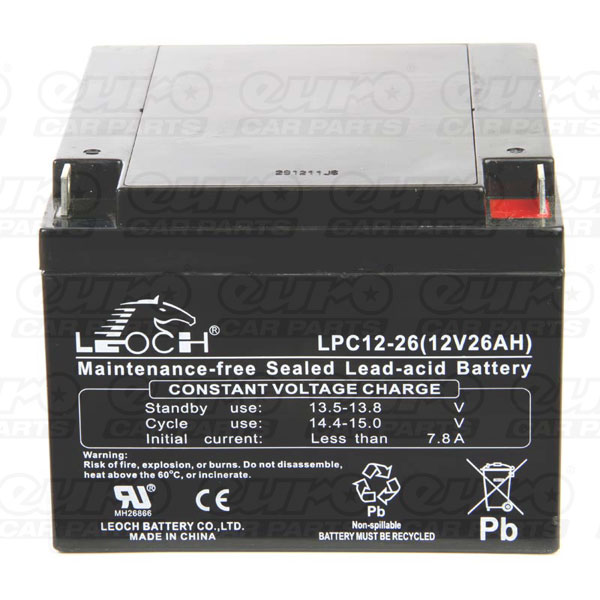 Leoch AGM PowaKaddy Battery - 12V 26Ah