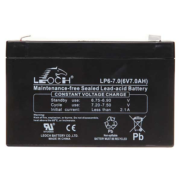 Leoch VRLA Sealed Battery 6V 7AH (Spade)