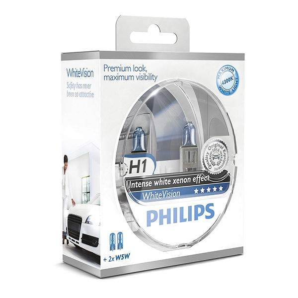Philips White Vision Xenon Effect - H1 Twin Pack (free set of 501 Bulbs Included)