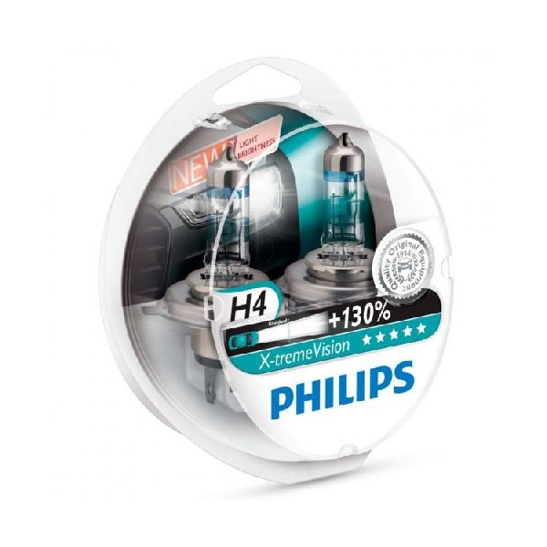 Philips Xtreme Vision PLUS 130% Extra Light - H4 Twin Pack