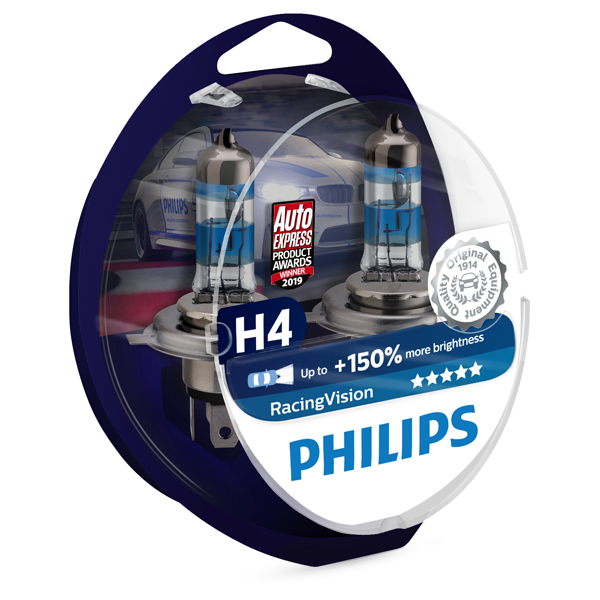 Philips 12v H4 Racing Vision 150% +150% Brighter upgrade Twin Pack