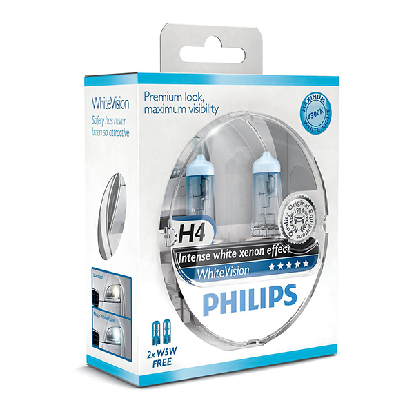 Philips White Vision Xenon Effect - H4 Twin Pack (free set of 501 Bulbs Included)