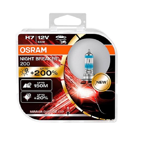 Osram NIGHT BREAKER LASER H7 headlight bulbs +200% more brightness - Twin Pack