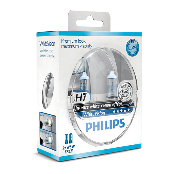 philips white vision xenon effect h7 twin pack free set of 501 bulbs included euro car parts