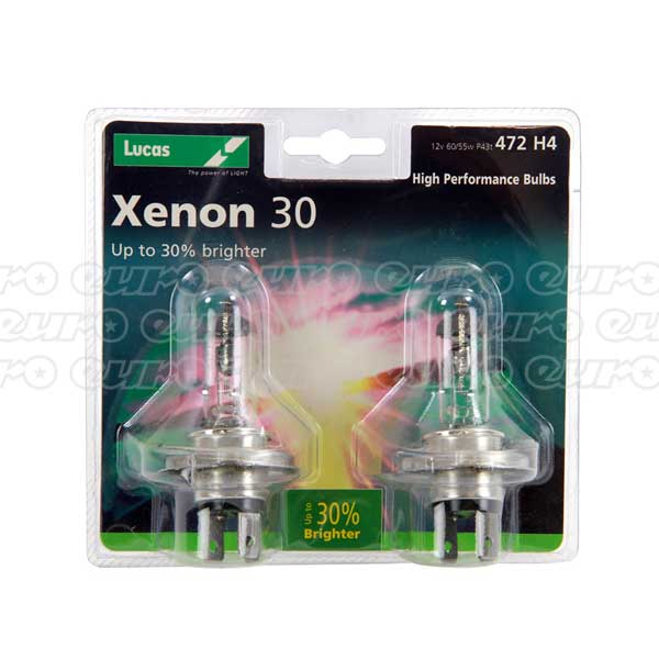 Lucas H4 Premium Xenon Power 30% Brighter - Twin Pack