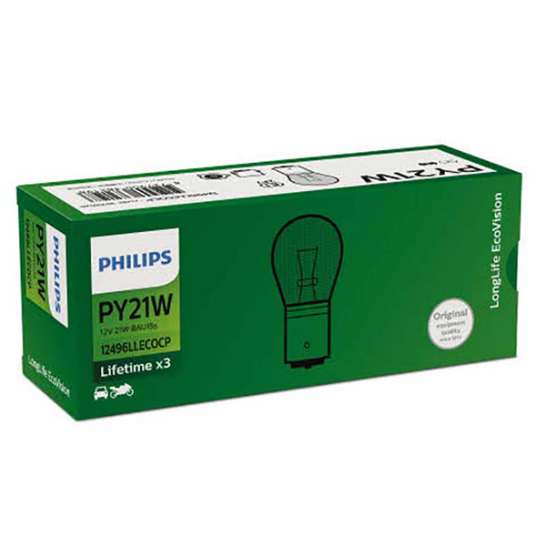 Philips Long Life EcoVision 12V 21W Amber - Single Box
