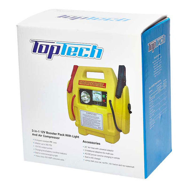 Top Tech 3 in1 12Ah Booster Jump Pack with Tyre inflator