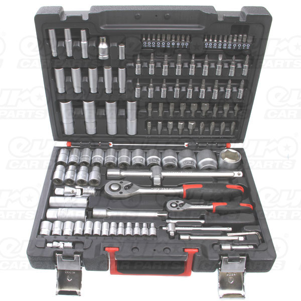 MASTERPRO 116 piece 1/2 and 1/4 drive socket set