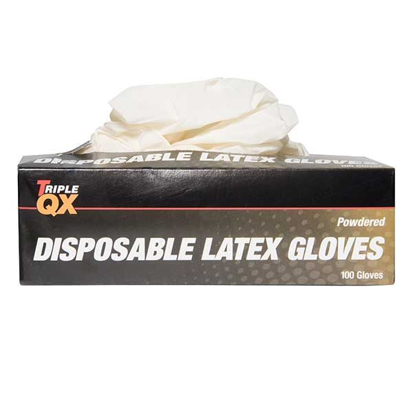 Euro Car Parts Latex Gloves Medium - Pre Powdered - Box of 100