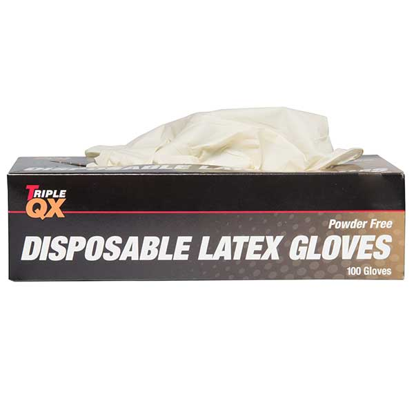 TRIPLE QX Latex Gloves XL Powder Free Box of 100