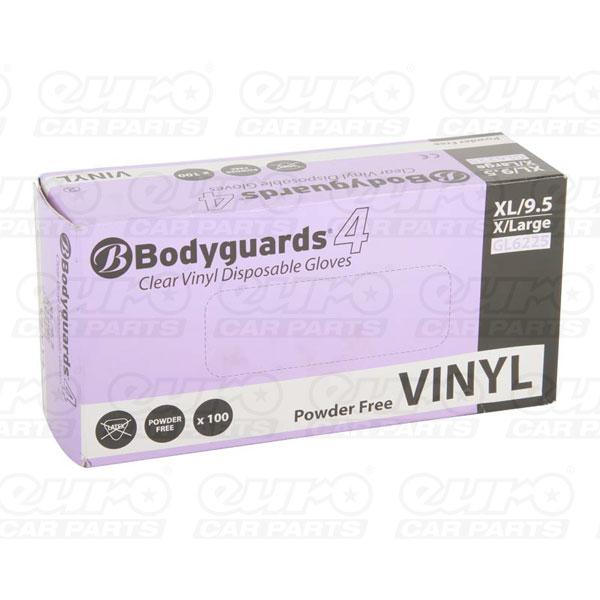 Euro Car Parts Bodyguard Vinyl P/Free Gloves XL Qty 100
