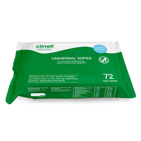 Clinell Universal Sanitiser Wipes (72 Pack)