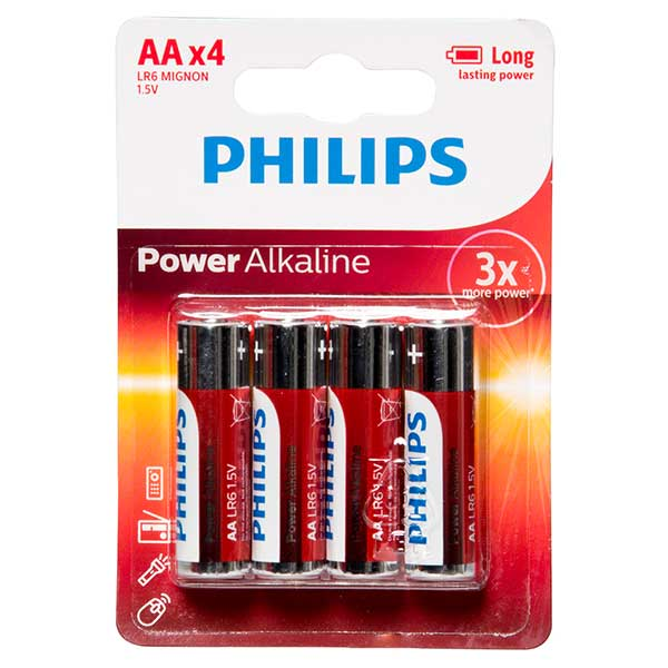 Philips Powerlife AA Battery Qty 4