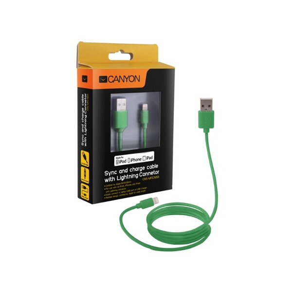 Certified Apple MFi Ultra-Compact Phone Cable Green