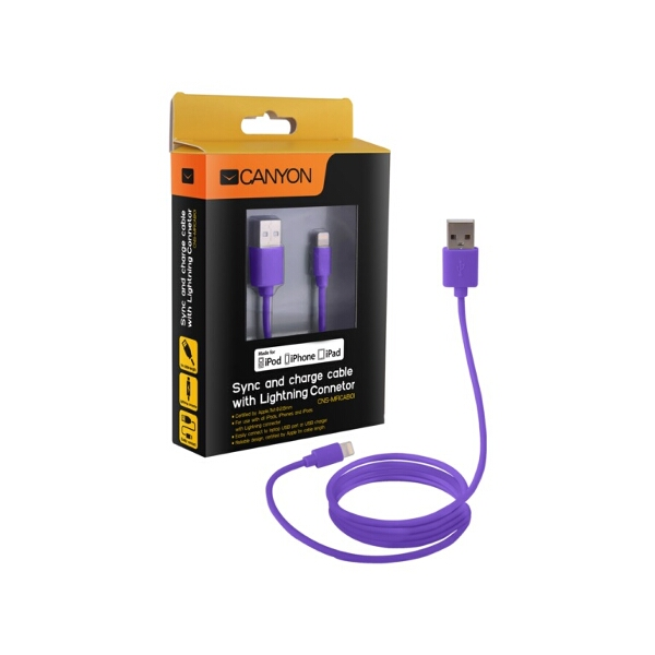 Certified Apple MFi Ultra-Compact Phone Cable Purple