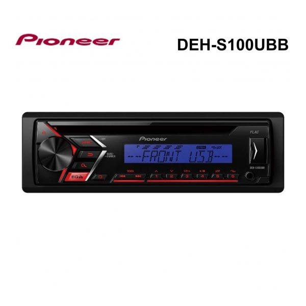 Pioneer Car Stereo with RDS Tuner, CD, USB and Aux-In., 50W x 4, Black/Blue LCD Display