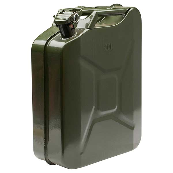Top Tech 20ltr Petrol Metal Jerry Can (Green)
