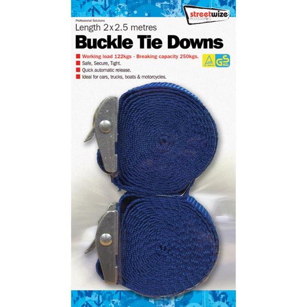 Streetwize 2.5 mtr Buckle Tiw Down Pair