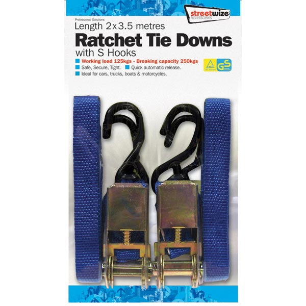 Streetwize 2 x 3.5 mtr Ratchet Tie Down