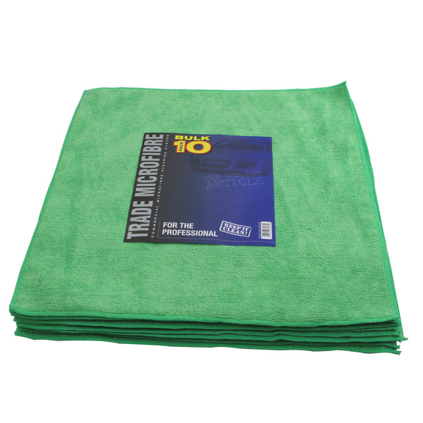 Euro Car Parts Premium Microfibre 10 Pack 40x40cm - GREEN