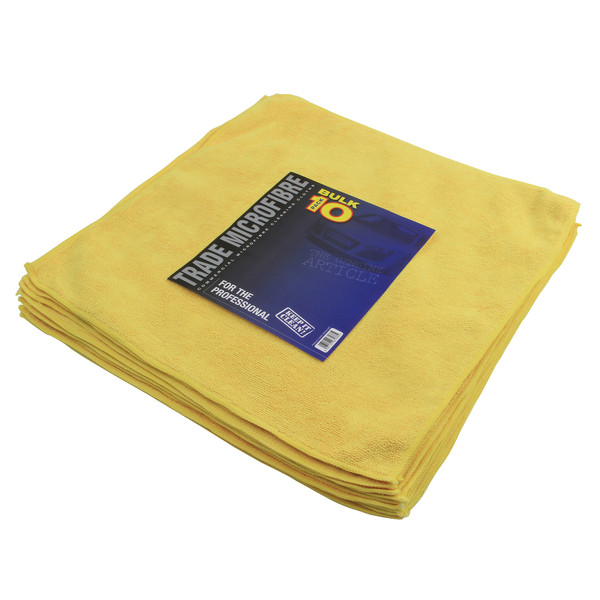 Euro Car Parts Premium Microfibre 10 Pack 40x40cm - YELLOW