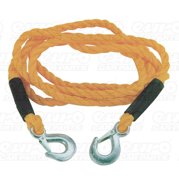 Carpoint Tow Rope 10mm x 3m 1800kg with metal clip hooks