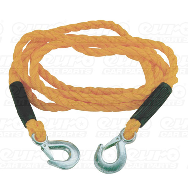 Carpoint Tow Rope 14mm x 4m 3000kg with metal clip hooks