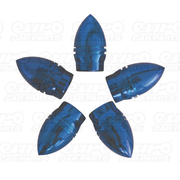 Carpoint Valve caps 5pcs -bullet-blue