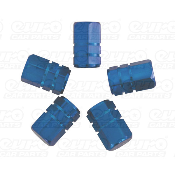 Carpoint Valve caps 5pcs -piston-blue