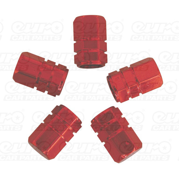 Carpoint Valve caps 5pcs -piston- red