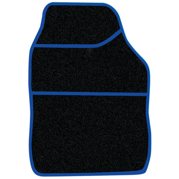 Streetwize 4 pce Carpet Mats Velour  Black / Blue binding